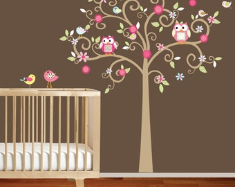 Curly Flower Tree with Owls and Birds - Nursery Vinyl Wall Decal