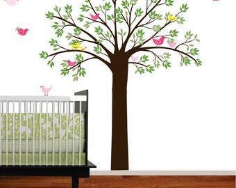 Vinyl Wall Decal Tree Bird Set Green Leaf Tree