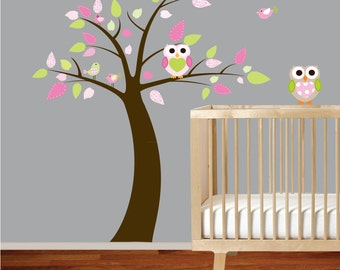 Girls Pattern Leaf Tree with Heart Owls Birds Vinyl Wall Nursery Decal