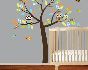Vinyl Wall Decal  Vinyl Wall Decal Stickers Owl Tree Set Nursery Boy Baby