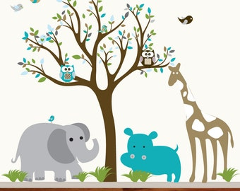 Wall Decals Nursery Wall Decal Tree with Elephant Giraffe Owls Birds