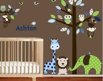 Giraffe,elephant,monkey nursery wall decal sticker vinyl tree and branch jungle decals
