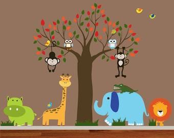 Childrens Wall Decal -  Jungle Safari Tree Monkeys Elephant Giraffe Vinyl Wall Decals Nursery