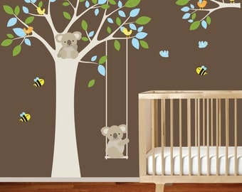 Nursery wall decal tree with swing branch owls,birds,elephant,koala bears,vinyl wall decals