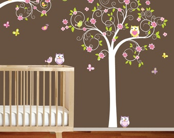 Swirl Tree and branch set with leaves,flowers birds,owls vinyl wall decal sticker nursery girls