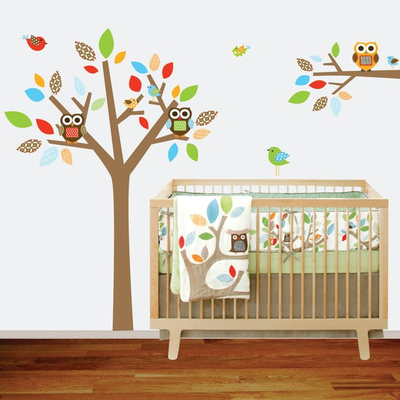 Childrens Wall Decal Tree and Branch Vinyl Wall Nursery with Owls,Birds