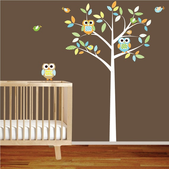 items similar to boy modern nursery vinyl wall decal tree with owls birds pattern leaves on etsy. Black Bedroom Furniture Sets. Home Design Ideas