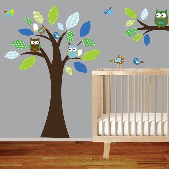 On Sale Vinyl Wall Decal Stickers Tree Branch Set with Owls Birds Nursery Tree