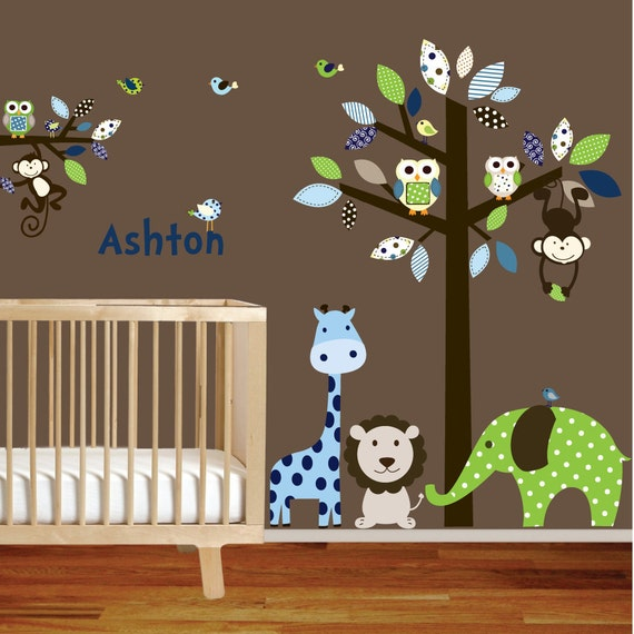 Giraffe,elephant,monkey nursery wall decal sticker vinyl tree and branch jungle decals