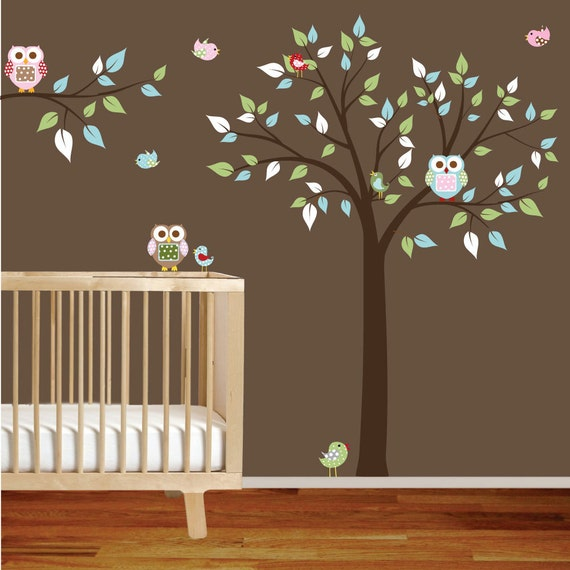 Vinyl Wall Decal Stickers Tree Branch Set with Owls Birds Boy Girl Nursery