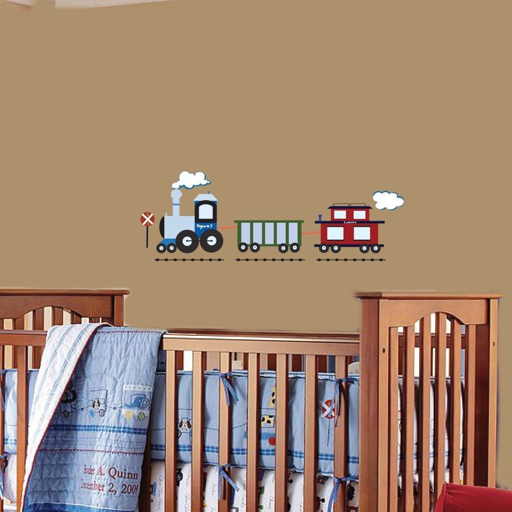 Vinyl wall decal kids vinyl wall art stickers boys train for Boys wall art