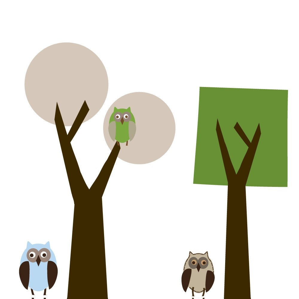 modern kids tree decal set owls vinyl wall decals