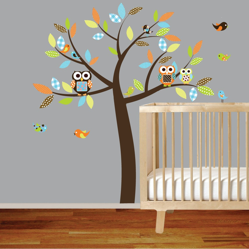 Vinyl wall decal vinyl wall decal stickers owl tree set for Baby boy wall mural