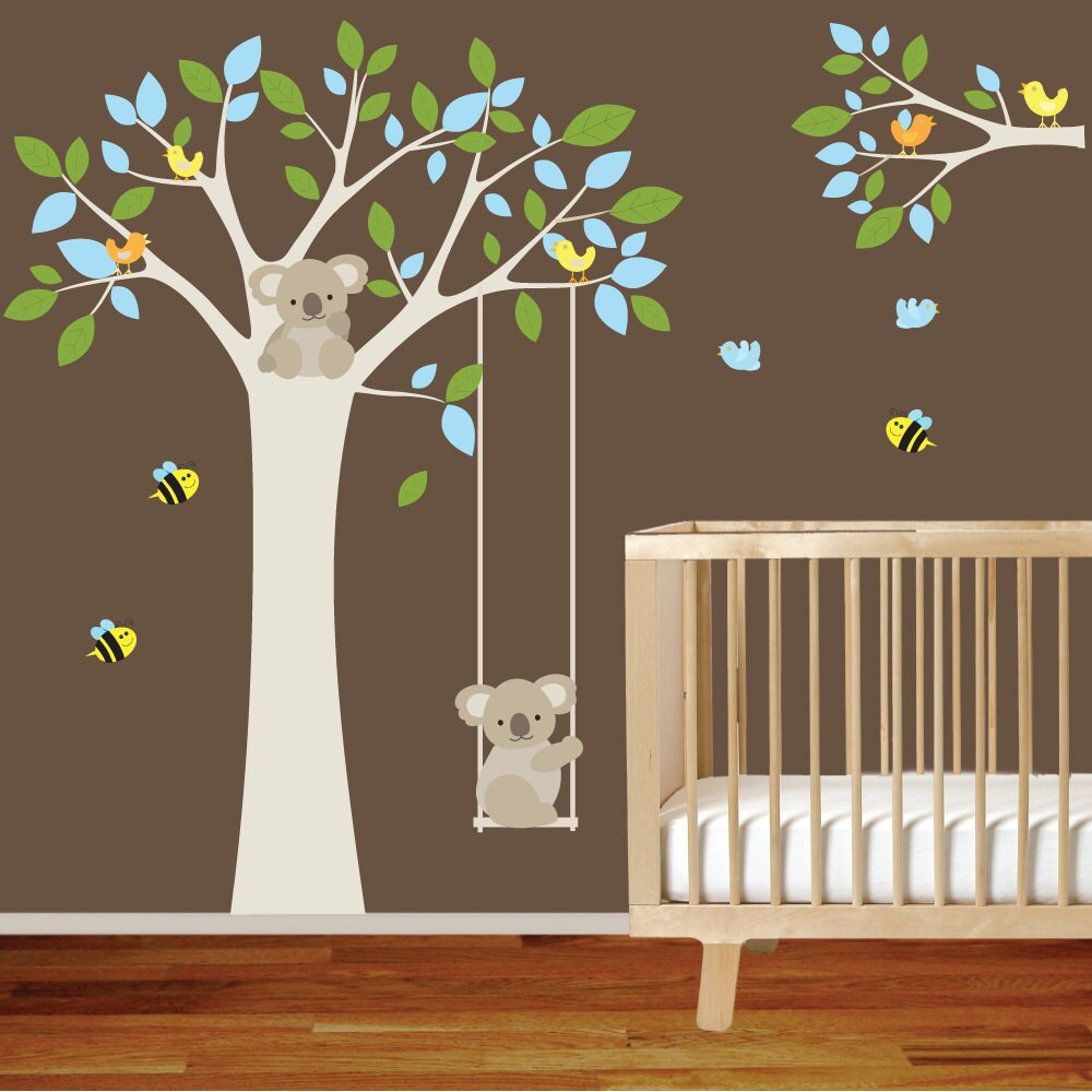 nursery wall decal tree with swing branch. Black Bedroom Furniture Sets. Home Design Ideas