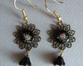 Jet Roses Earrings