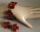 Amber Flower Bracelet & Earring Set