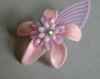 Vintage Plastic Rose Flower Brooch