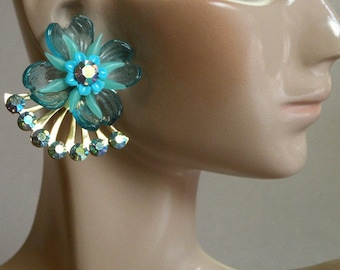 Aqua Flower & Rhinestone Earrings