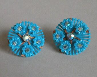 Aqua Flower Earings