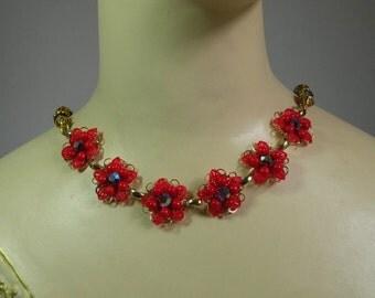 Ruby Crystal & Rhinestone Flower Necklace