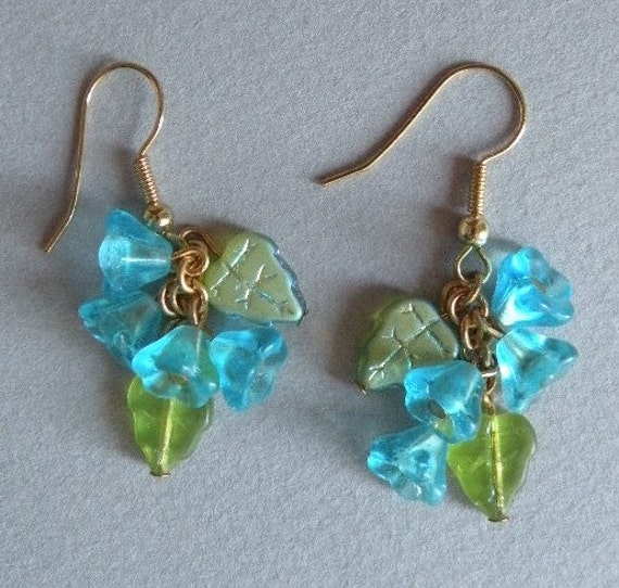Aqua Flowers Earrings