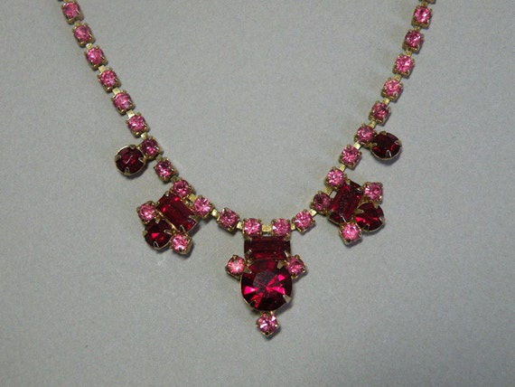 RESERVED FOR ECHIUM Vintage Ruby & Rose Rhinestone Necklace