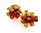 Alice Caviness Glass Cube Amber Earrings RESERVED