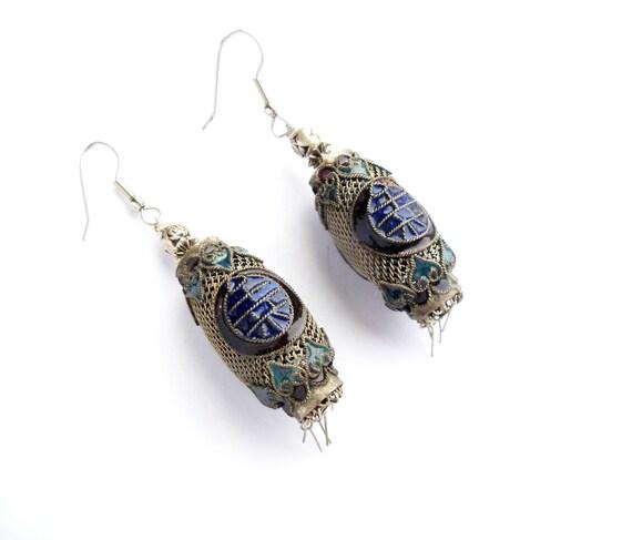Chinese Silver Earrings Enamel Drop Lantern Fringe Pierced
