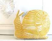 Plush Yellow Snail Pillow. Woodblock Printed. Choose any Color. Made to Order. Xmas Order deadline DEC 3rd