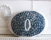 Plush Leaf and Raindrops Pillow. Hand Woodblock Printed. Choose ANY Color. Made to Order.