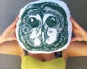 Plush Owl Pillow. Hand Woodblock Printed. 16 inches Round. Pick your colors. Made to Order.