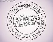 Merry Christmas Round Address Stamp - Holiday Return Address Stamp (C105) Self-inking
