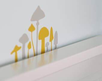 Mushroom vinyl wall decals-Set of 30-Choose two colors