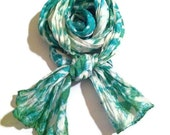Scarf silk shibori tie dye SMALL green blue HAND DYED Hand Made Gift