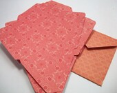 Orange Vintage Look Envelopes for 2x2 cards - Set of 12 - Great for Handmade Thank You Cards and Scrapbooking