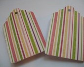 Set of 24 Woven Look Garden Colors Striped Hang Tags - 2.5 inches long - Great for Scrapbooking, Cardmaking, Earring Tags, Thank You Enclosures, Gift Tags