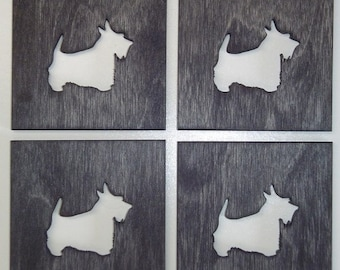 Wooden Scottie Coasters