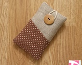 iPhone 4 4S pouch / iPod sleeve / white polka dots over brown