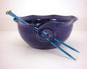 Yarn Bowl, Crochet Or Knitting Helper - Yarn Holder - Cobalt Blue - Made to Order