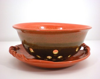 Hand Thrown Rustic Berry Bowl With Decorative Platter