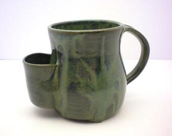Mug, Tea Drinkers Sidekick,Dark Green Drip Cup - Made to Order
