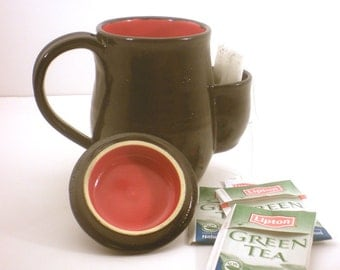 Mug, Tea Drinkers Sidekick, Black And Red Cup With Lid - Made to Order