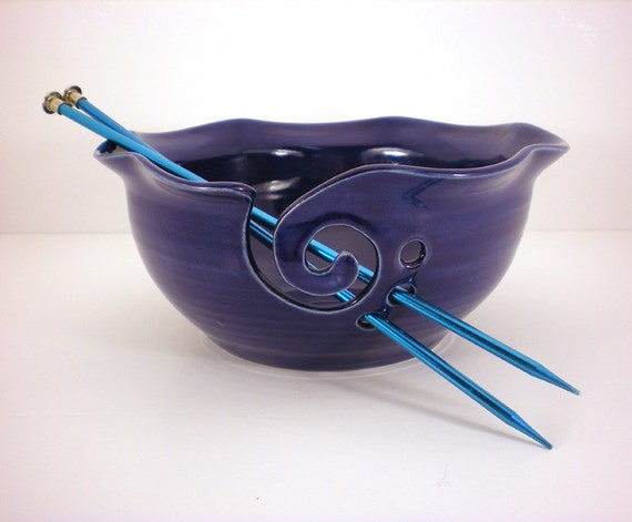 Yarn Bowl, Crochet Or Knitting Helper - Yarn Holder - Cobalt Blue - Made to Order