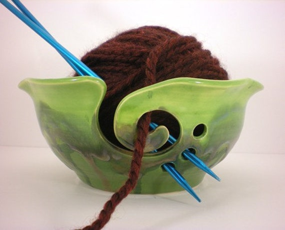 Yarn Bowl, Crochet Or Knitting Helper - Yarn Holder - Mossy Green - Made to Order