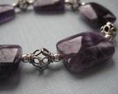 Amethyst and Sterling Silver Filigree Beaded Bracelet