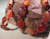 Carnelian, Red Jasper, and Yellow Jade Necklace and Bracelet Set