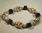 Dalmation Jasper, Black Onyx and Sterling Silver Beaded Bracelet