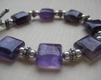Amethyst Squares and Sterling Silver Bracelet
