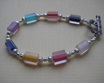Handblown Multicolor Frosted Furnace Glass Bracelet