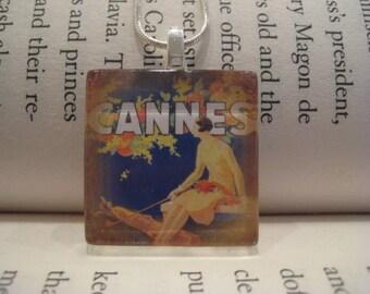 Cannes Vintage Print Glass Tile Pendant 1